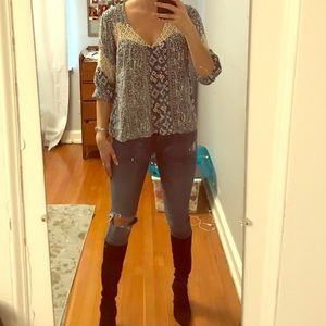 free people printed blouse with lace inset